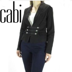 Cabi Black Fitted Cropped Military Jacket